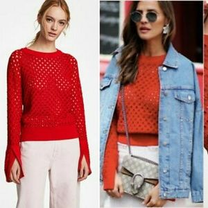 Zara red sweater openwork, S, NEW